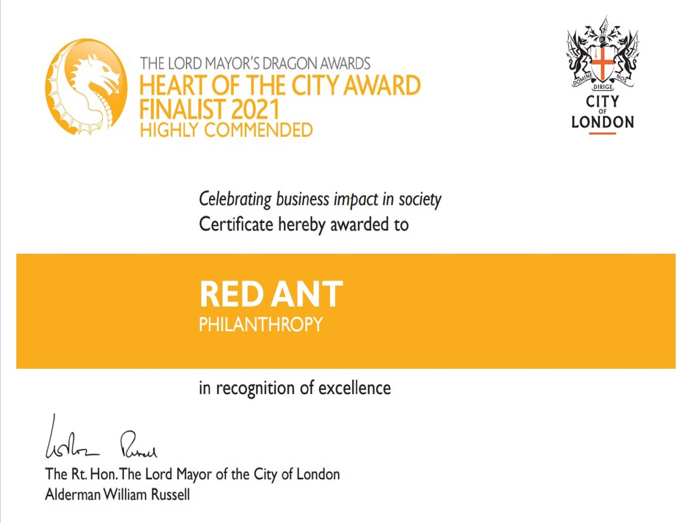 Red Ant is Highly Commended in the Lord Mayor's Dragon Awards