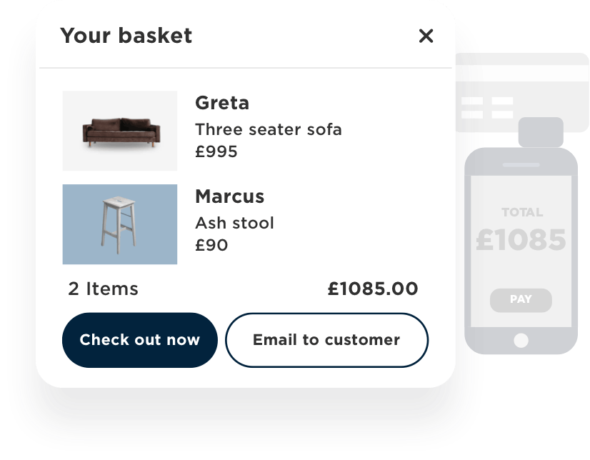 Allow customers to seamlessly check out wherever they are in store or remote payments and email baskets for complete-at-home purchases