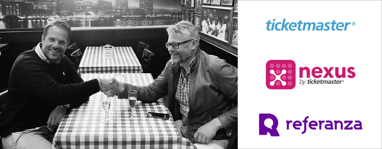Referanza's CEO Joakim Turesson shaking hands with Ticketmaster's VP of Business Development Pelle Vickhoff