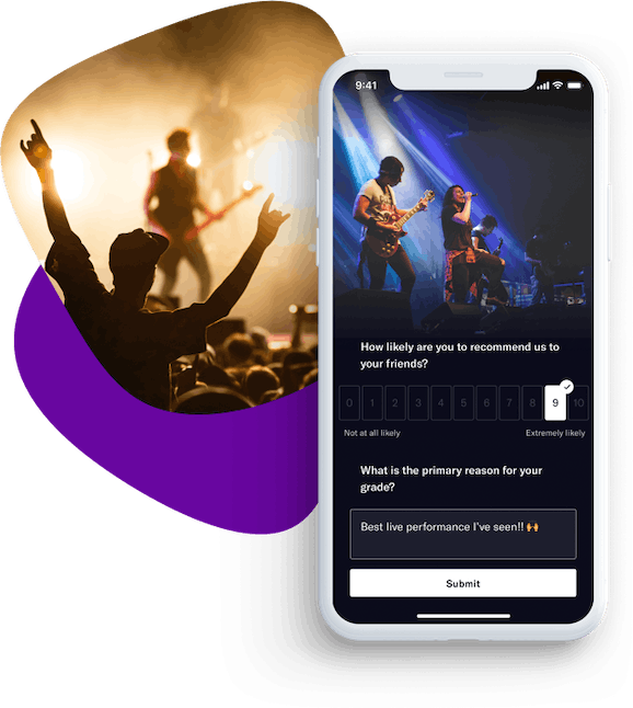 Referanza NPS rating page example with rock concert layout