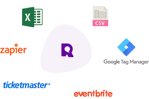 Referanza logo in the middle surrounded by logo of Excel, CSV, Google Tag Manager, Eventbrite, Ticketmaster and Zapier