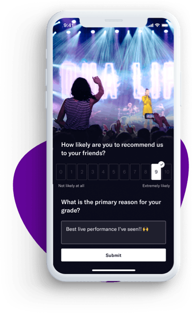 Mobile view of NPS rating and customer feedback from promoter