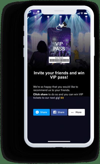 Mobile view of VIP invite for referrals