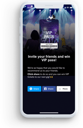 Mobile view of VIP invite for referrals