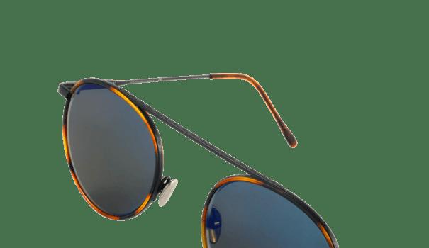lunette de soleil edwardson modèle stanley sun métal noir mat et insert acétate écaille pantos rétro verres gris