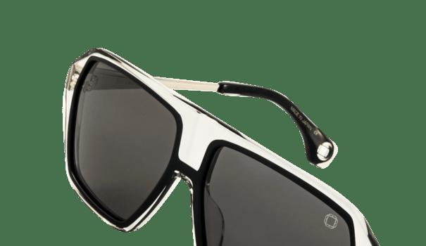 lunettes de soleil blake kuwahara modèle bellman midnight acétate noir et transparent mode forme grande carrée verres gris