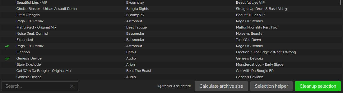 Archived tracks
