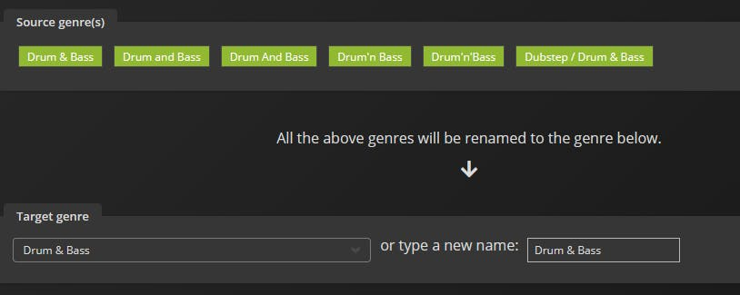 Change your track genres in just a few clicks