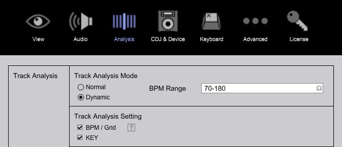 Dynamic analysis option in the Preferences menu
