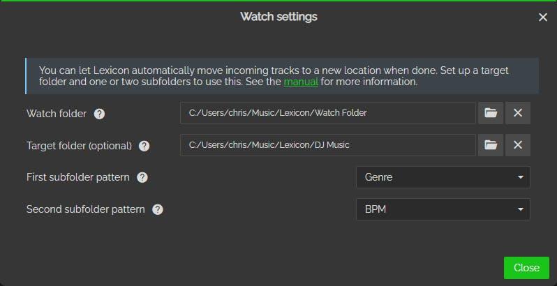 Watch settings