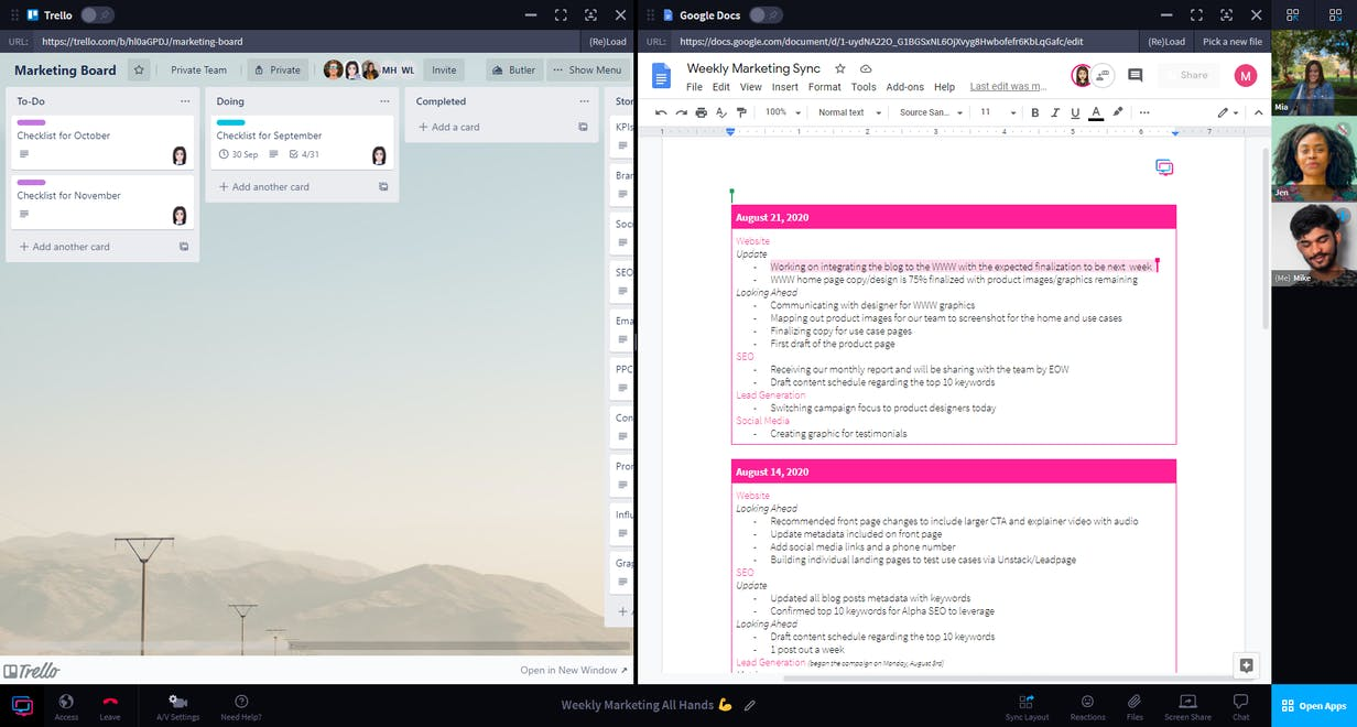 Screenshot of example collaborative session in RemoteHQ