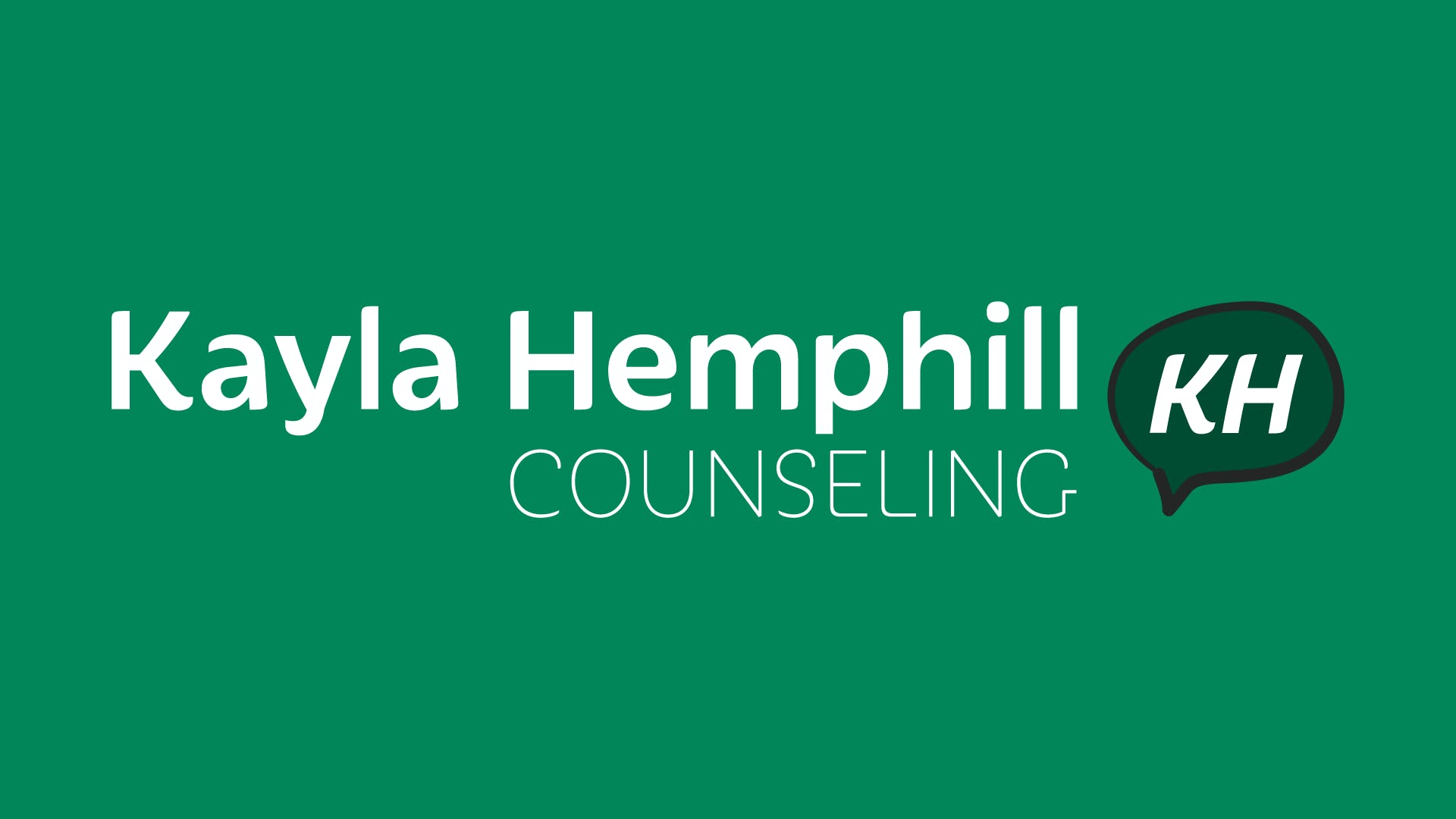 """Logo for Kayla Hemphill Counseling. Centered white text against a green background. The logo icon is a chat bubble with the letters """"KH""""."""
