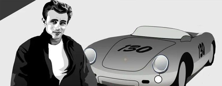 """Kunstdruck vom Gemälde Porsche 550 Spyder /""""Last hours/"""" James Dean 100x70 cm"""
