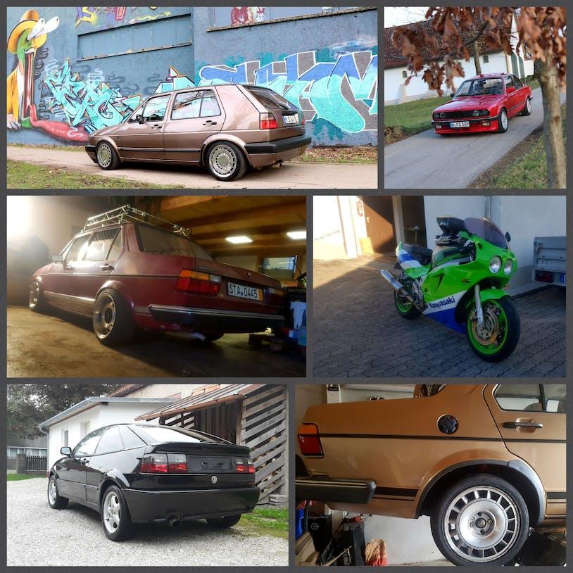 Eine Collage aus Sarahs Fahrzeugen