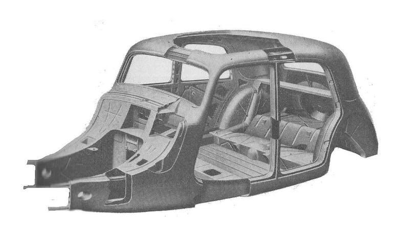 Eines der ersten Blechmonocoques im Fahrzeugbau: Karosserie des Citroën 11CV