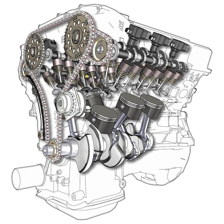 Querschnittszeichnung eines V6-Motors