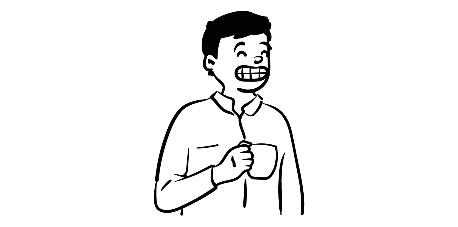 Illustration of a person with short hair and a big grin holding a mug, wearing a white shirt