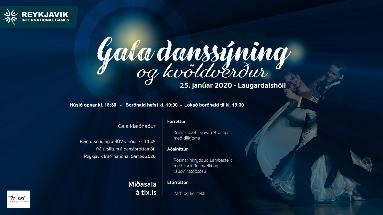 Auglýsing fyrir gala danssýningu og kvöldverð