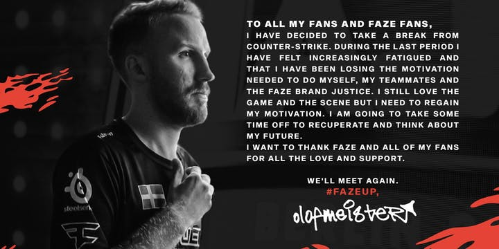 olofmeister announces break from CS:GO