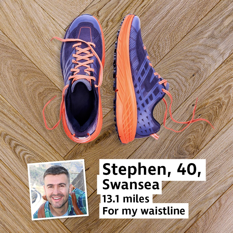 A pair of trainers next to a photo of a man and a caption reading Stephen, 40, Swansea, 13.1 miles for my waistline