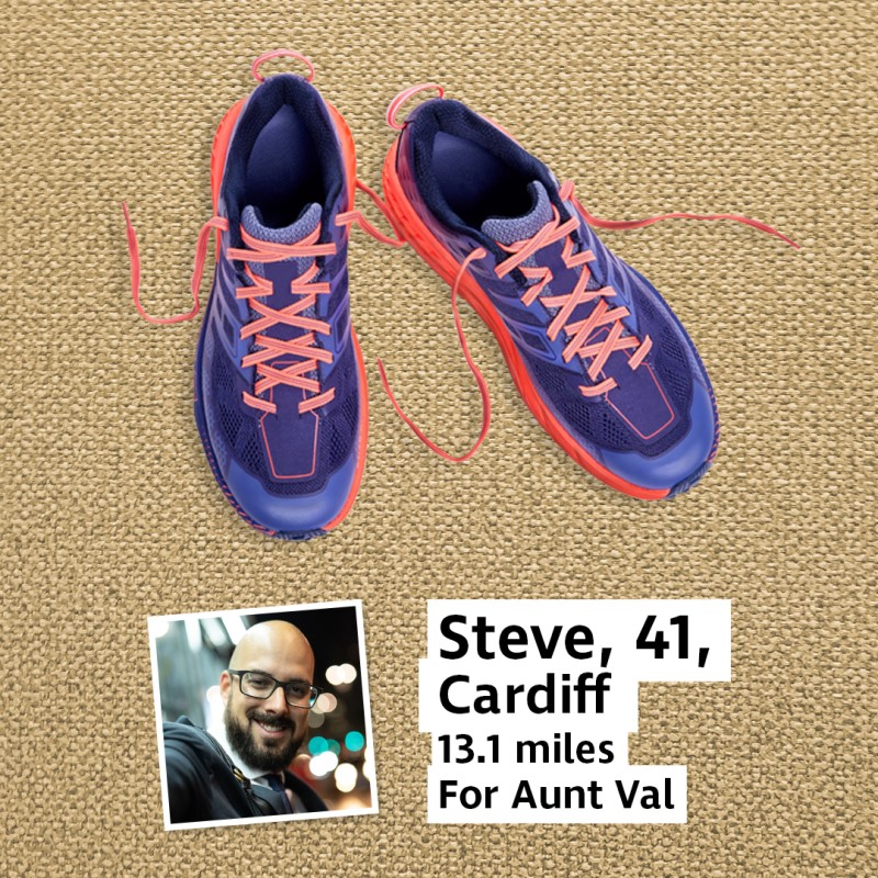 A pair of trainers next to a photo of a man and a caption reading Steve, 41, Cardiff, 13.1 miles for Aunt Val