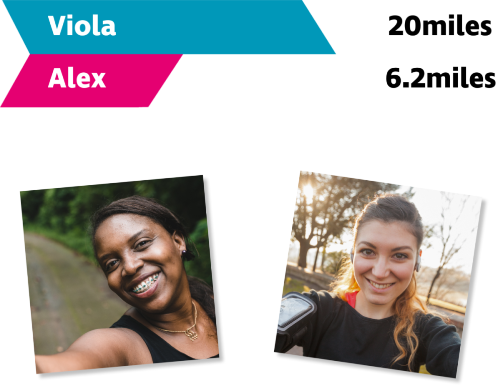 Two women with a graphic saying that Viola is running 20 miles and Alex 6.2 miles