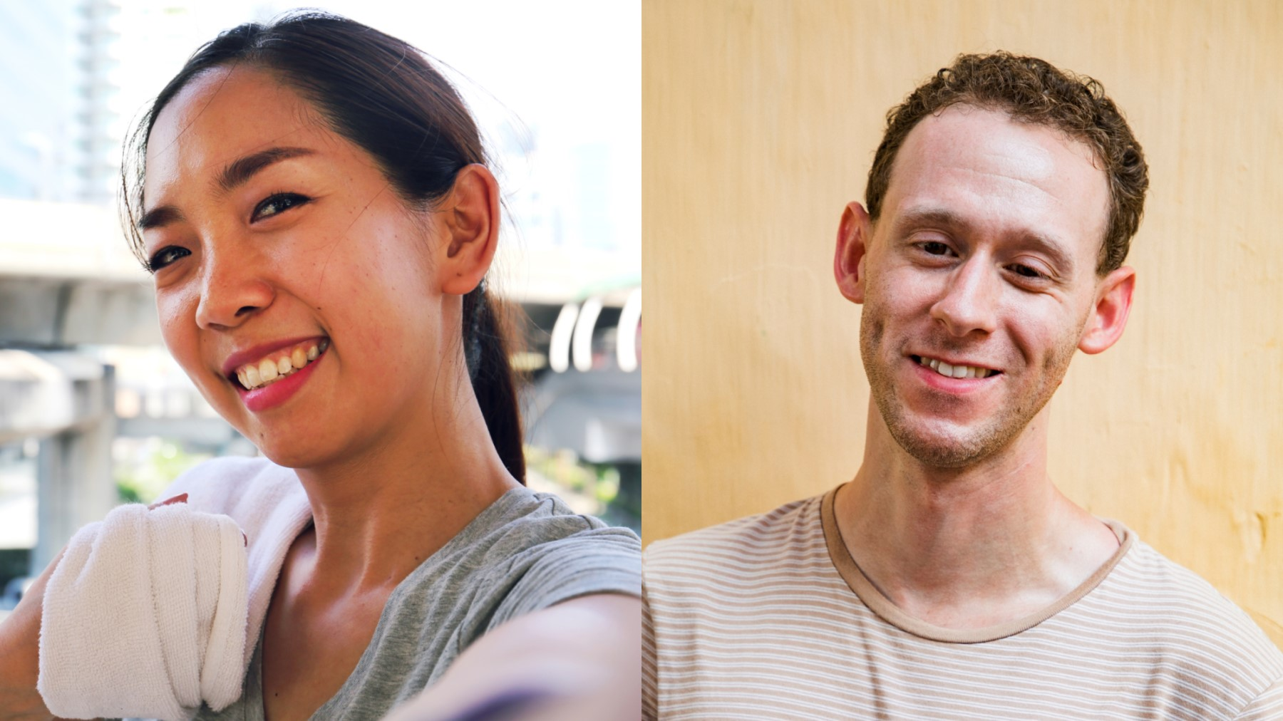 Photos of a young Asian woman and a young white man who has a visual impairment