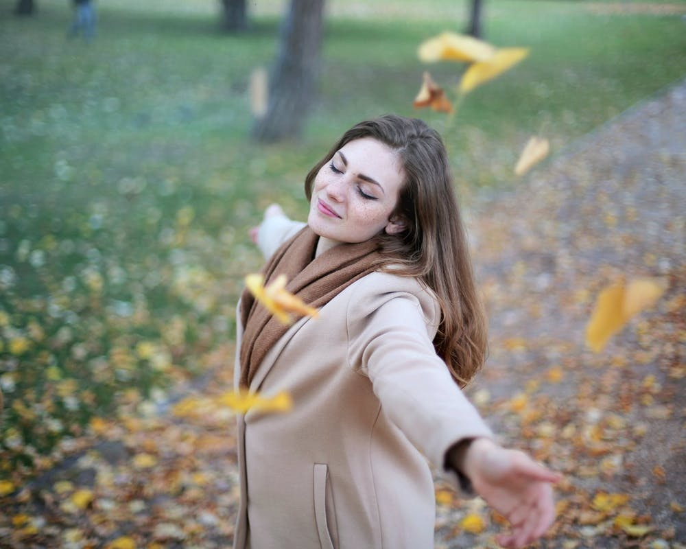 Happy woman in a park