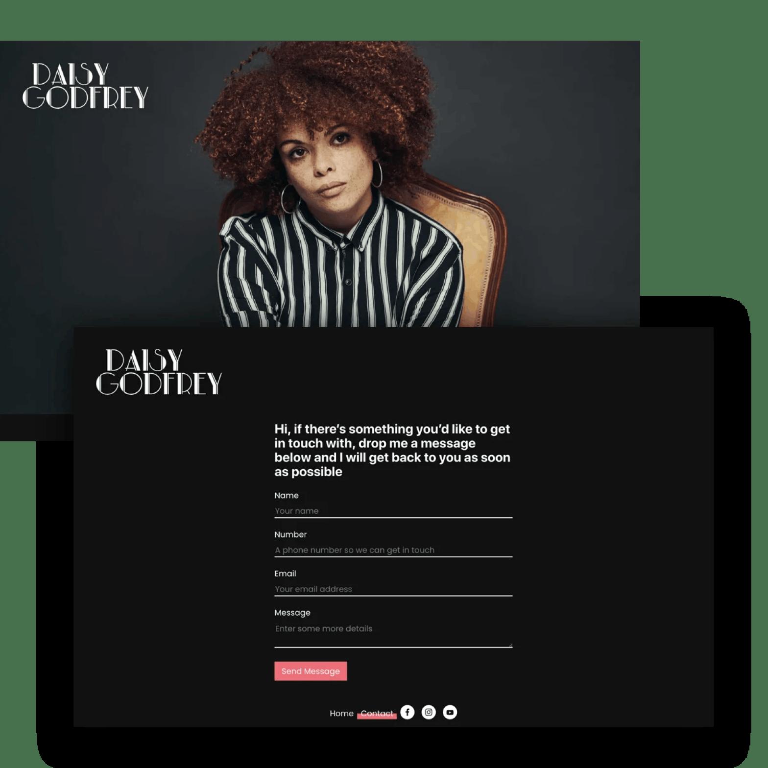 Daisy Godfrey Website Screens