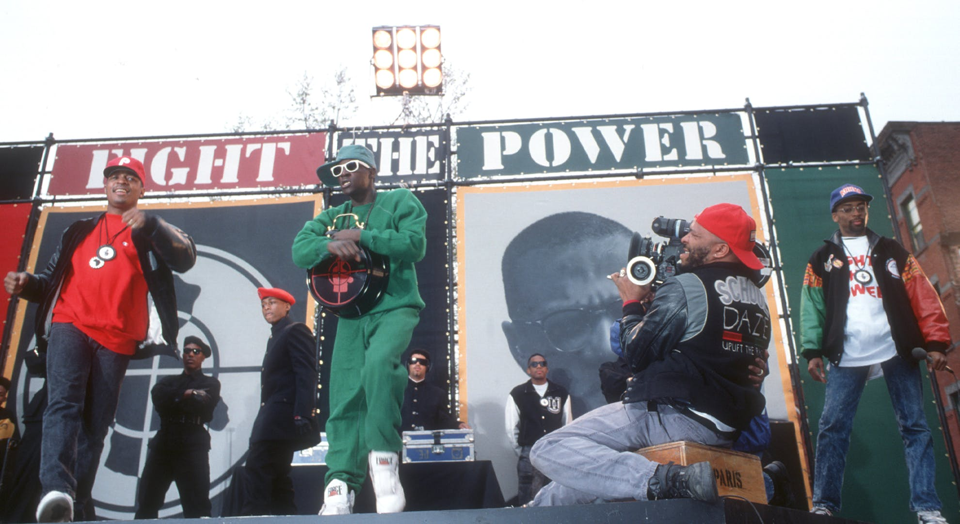 Rapper Flavor Flav, director Spike Lee and Chuck D of the rap group Public Enemy film a video for their song 'Fight The Power' directed by Spike Lee in 1989 in New York, New York.