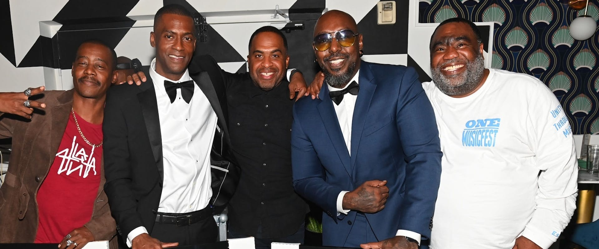 (L-R) Ray Murray, Rico Wade, Jason Carter, Sleepy Brown, and Moetown Lee attend 2021 ONE MusicFest Honors Dinner at Breakfast At Barney's on October 08, 2021 in Atlanta, Georgia. (Photo by Paras Griffin/Getty Images)