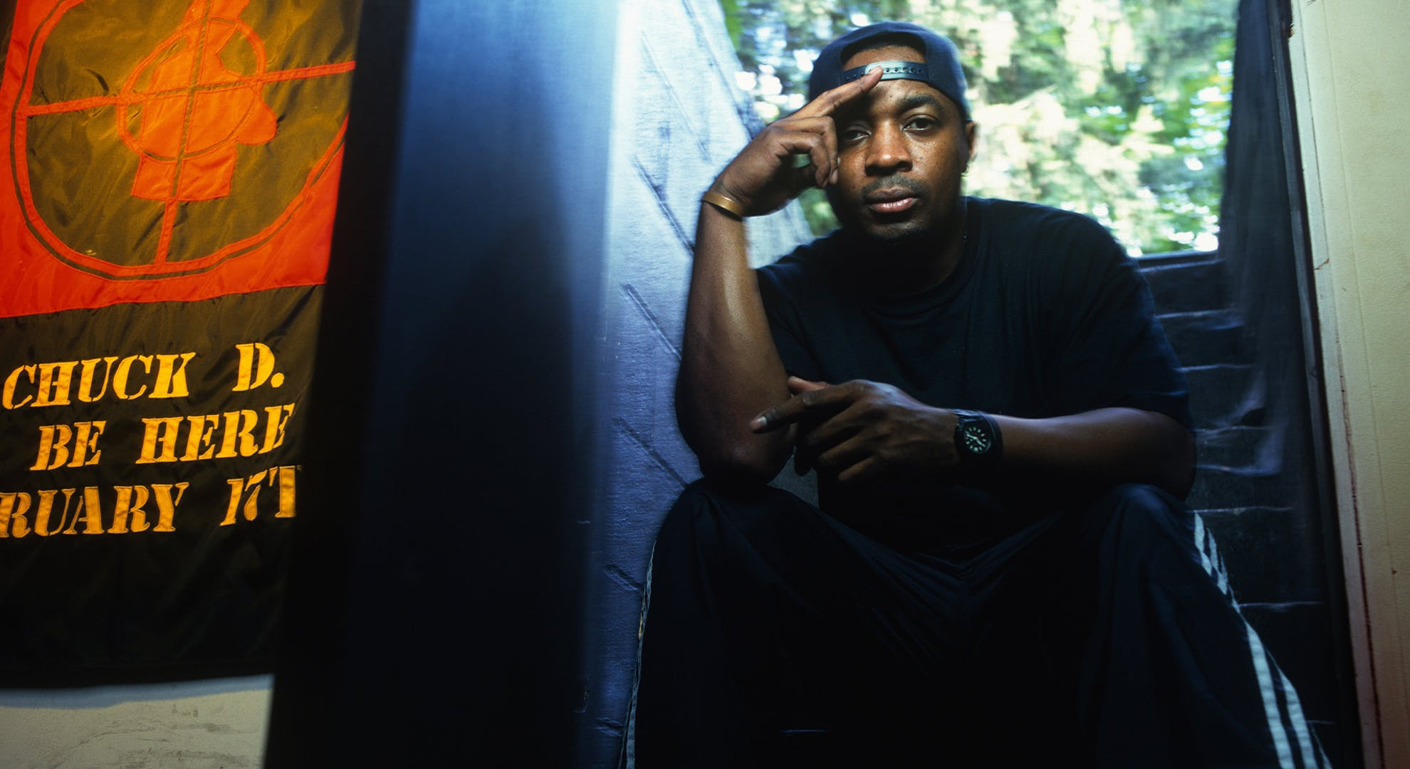 Public Enemy front man Chuck D poses for a portrait in his hometown of Roosevelt on August 25, 1999 in Long Island, New York.