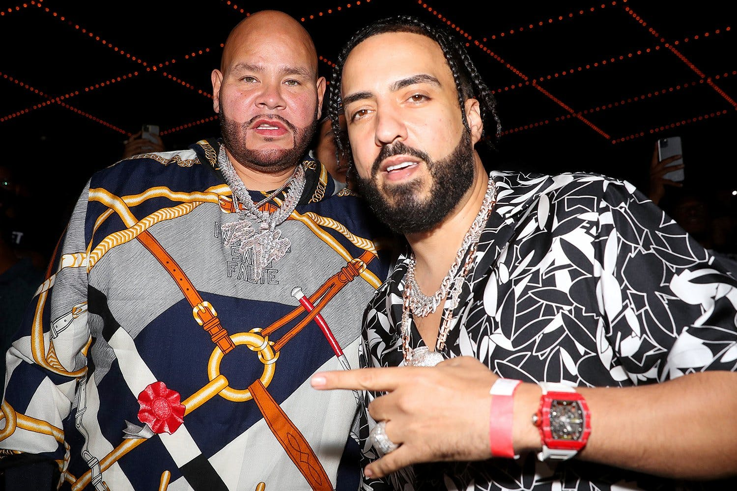 Fat Joe (L) and French Montana attend Verzuz: The Lox Vs Dipset at Madison Square Garden on August 03, 2021 in New York City.