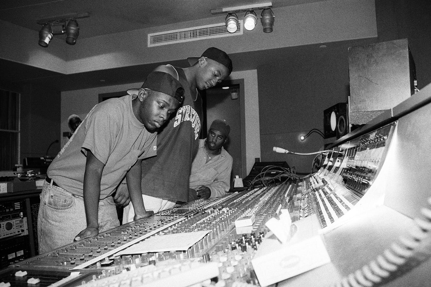 Phife, Q-Tip and Ali Shaheed Muhammad of A Tribe Called Quest in the recording studio in New York City on September 10, 1991.