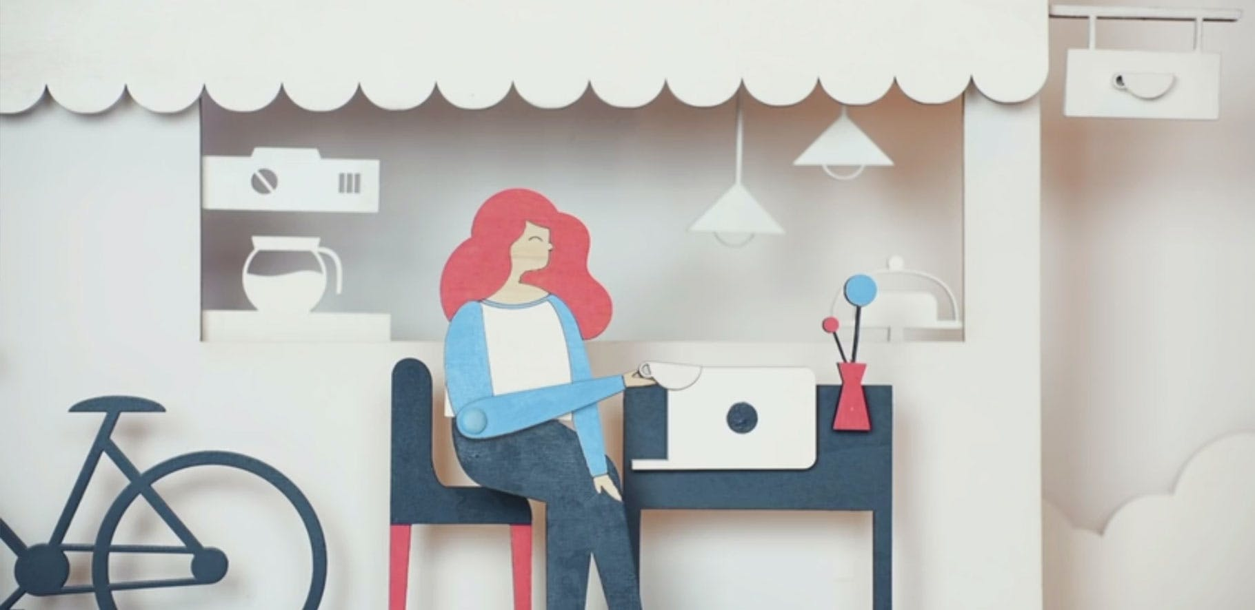illustration of a women sitting at a table at a cafe drinking a beverage