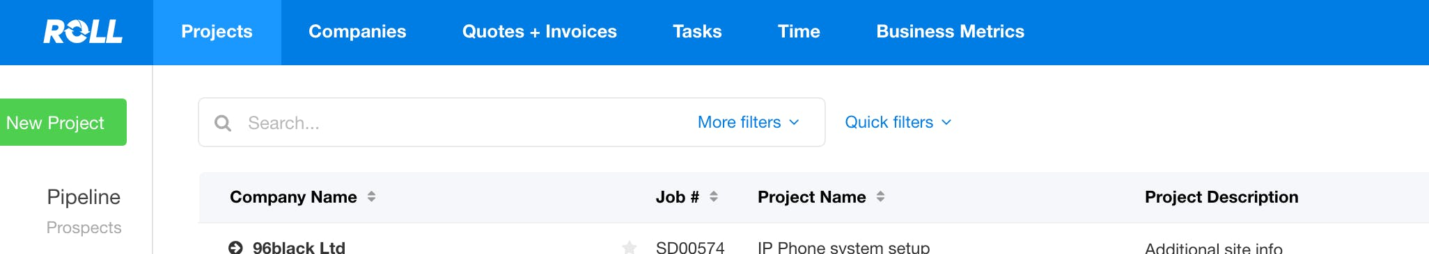 Projects search screen in Roll