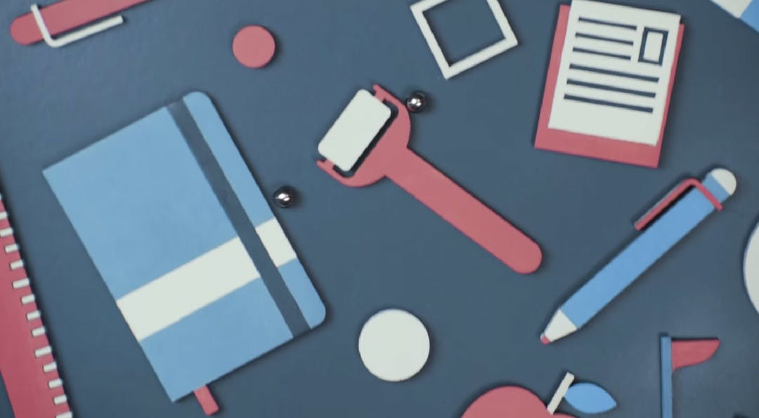 Illustration of a desk with office supplies scattered over it.