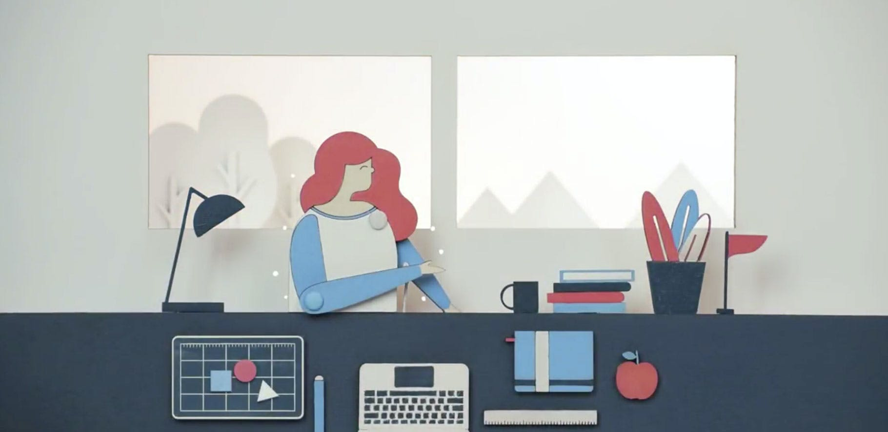 illustration of a women at her desk with laptop, files and office supplies