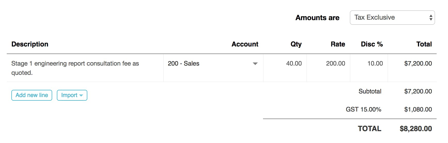 Adding a discount to an invoice in Roll
