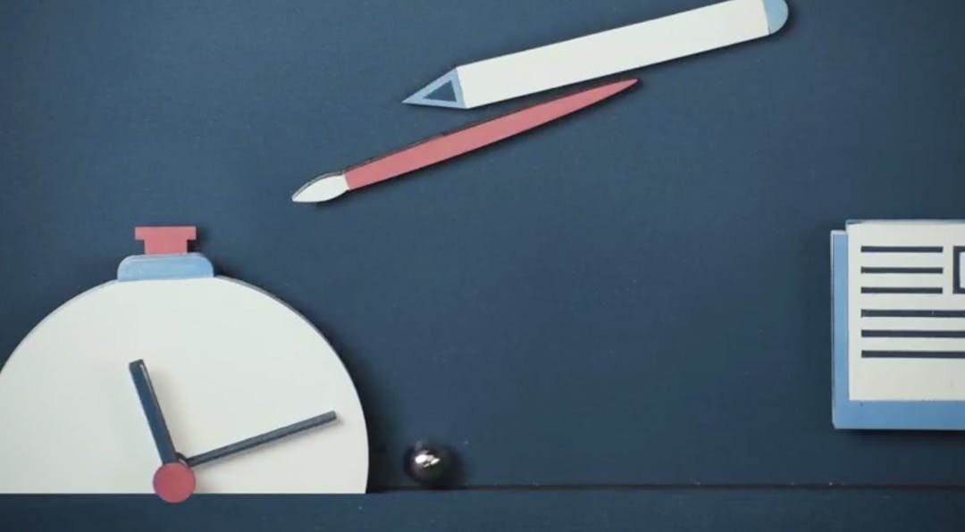 Illustration of a stopwatch along with a pen and pencil