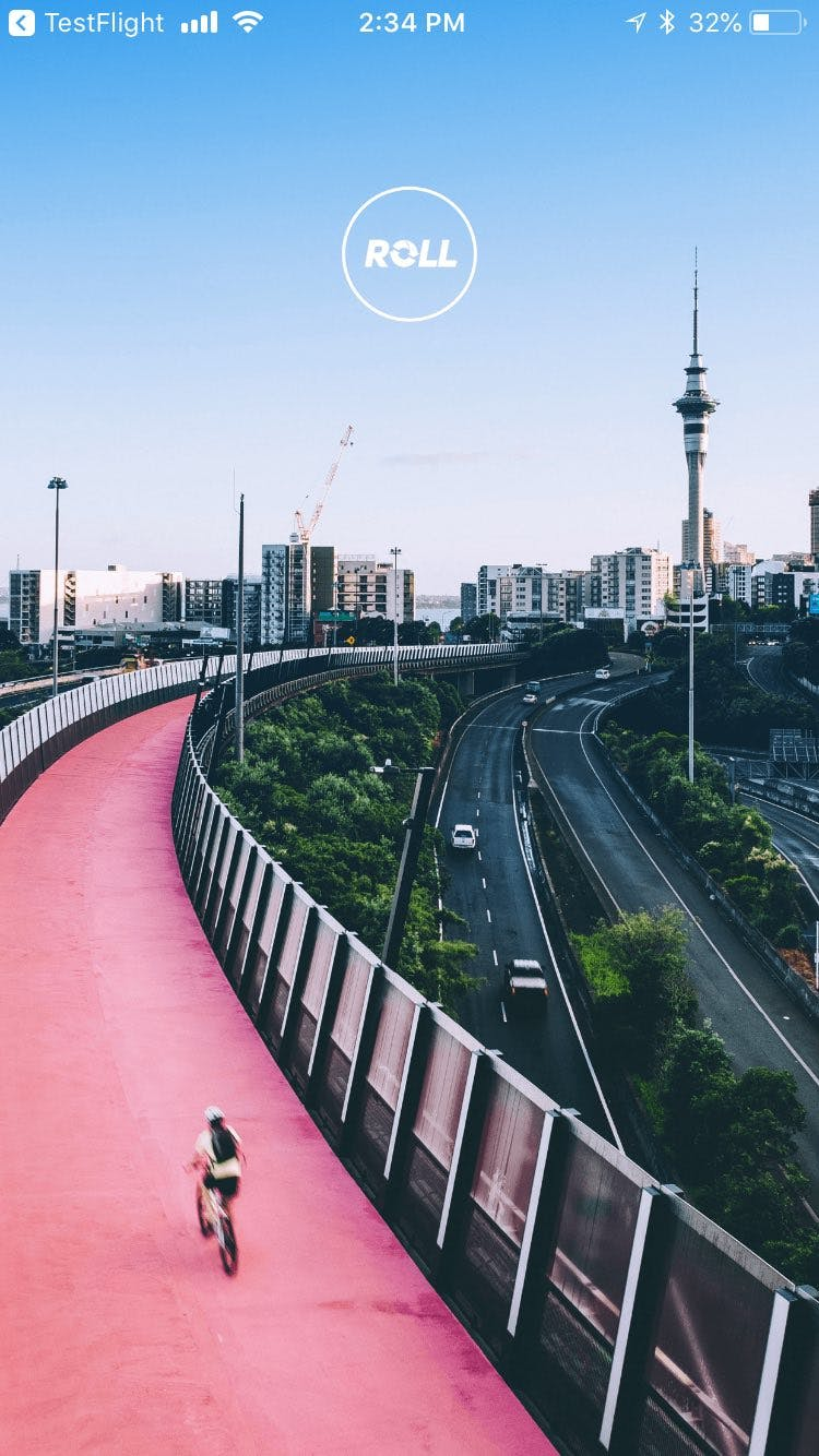 Photo of pink cycle path in Auckland NZ - the Roll mobile app landing page