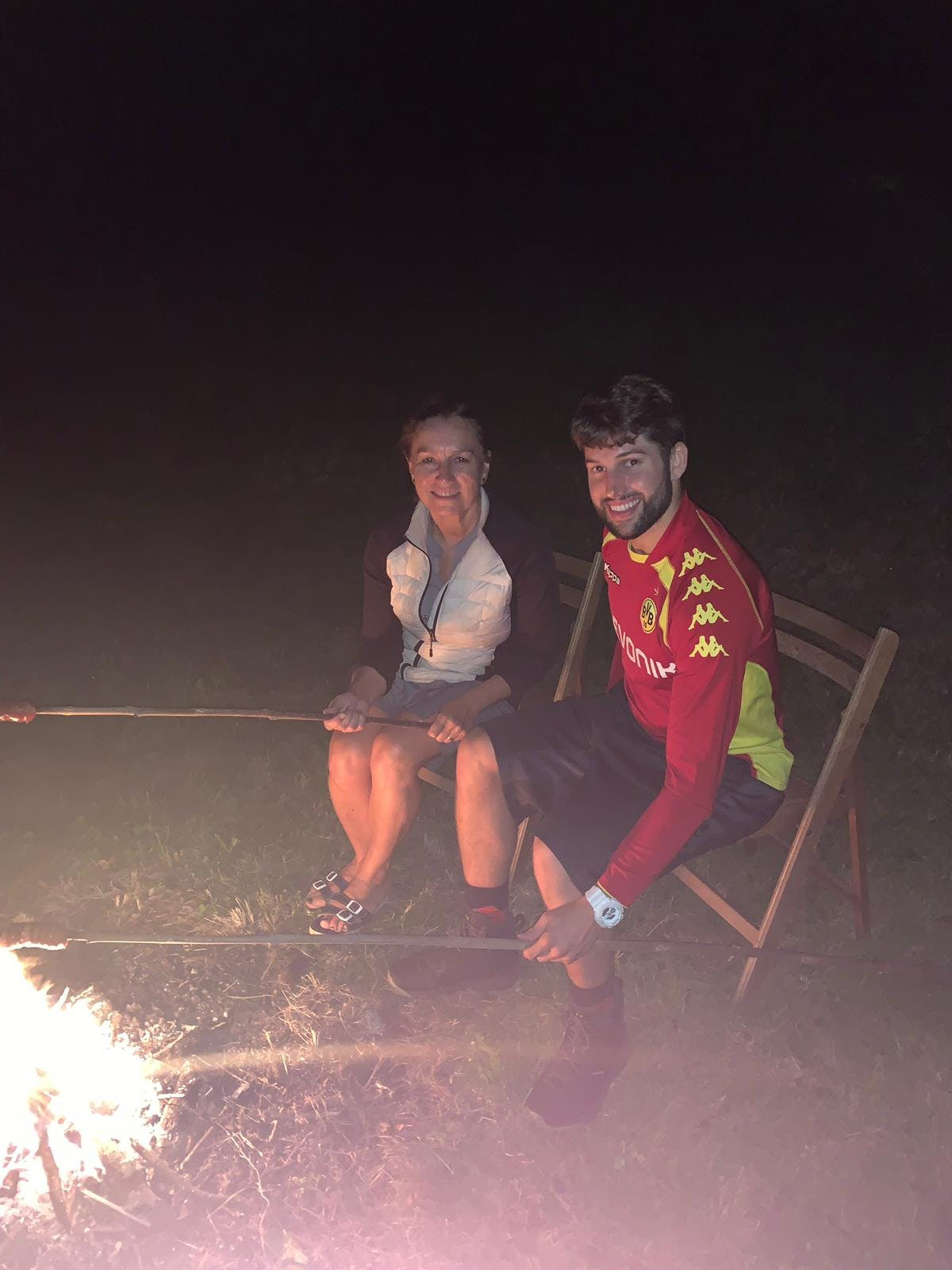 campfire with mom and Martin