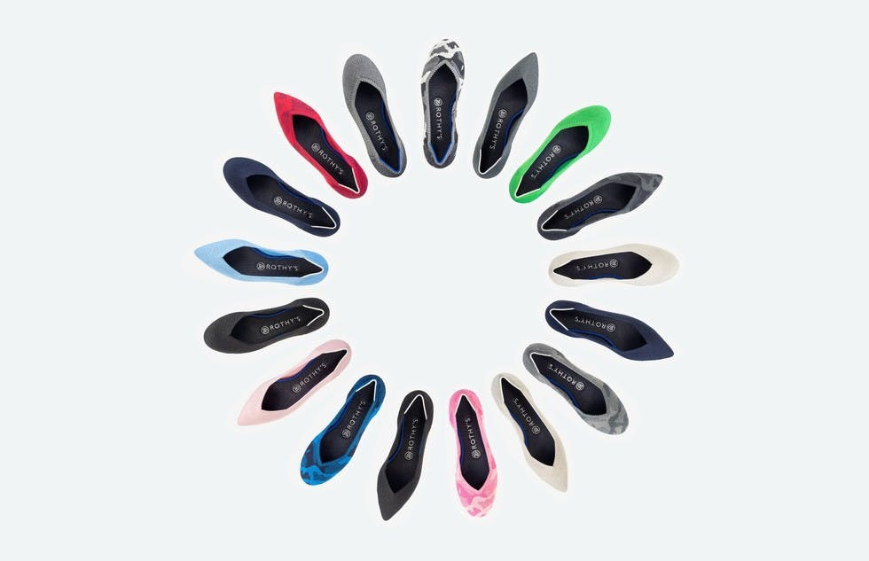 A wheel of Rothy's flats in assorted colors.
