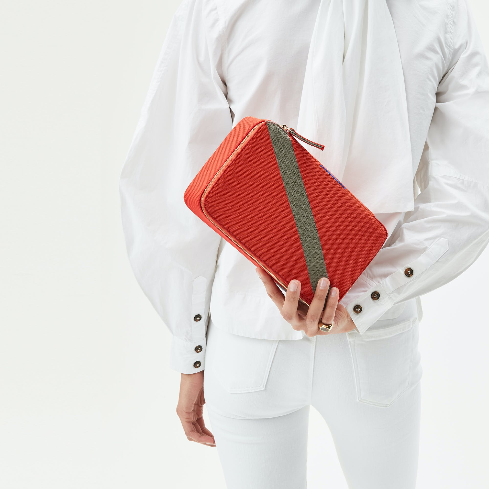 The Large Catchall in Bright Poppy shown from the front.