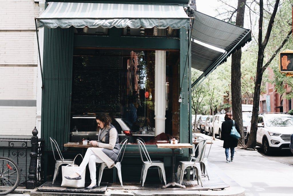 Outdoor patio of a café.