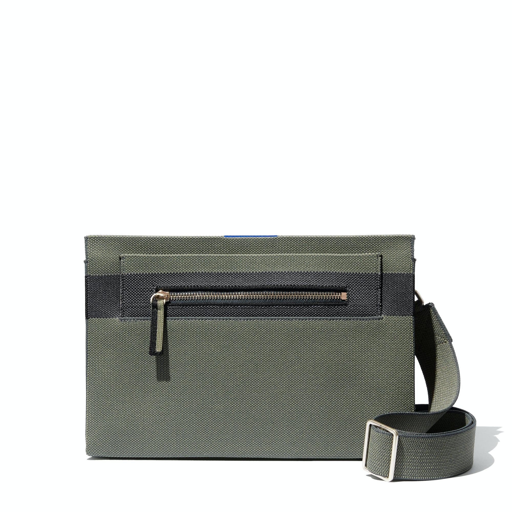 The Dual-Zip Crossbody in Sage Green shown from the front.