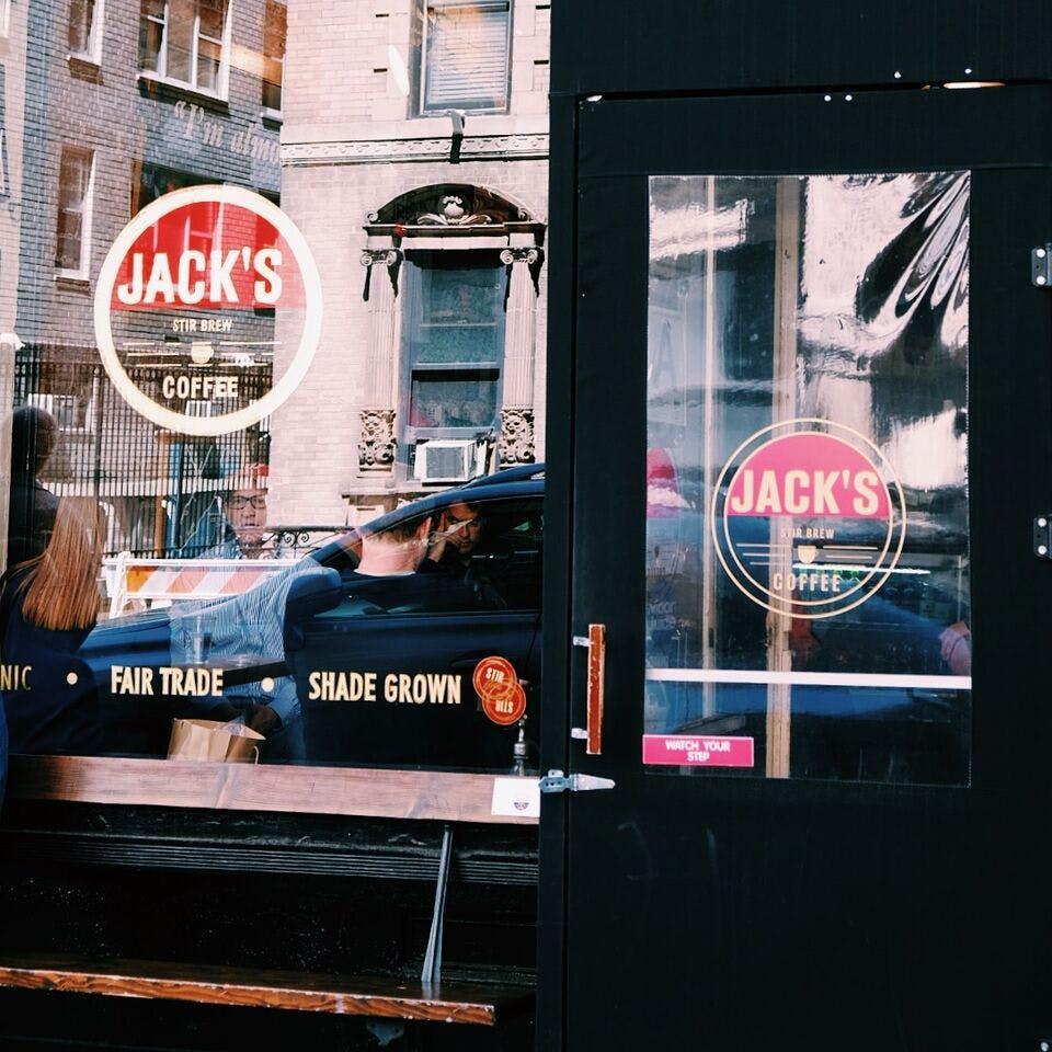 Shop window of Jack's Stir Brew Coffee.