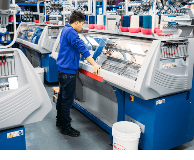 A photo of our shoes being made at our factory.