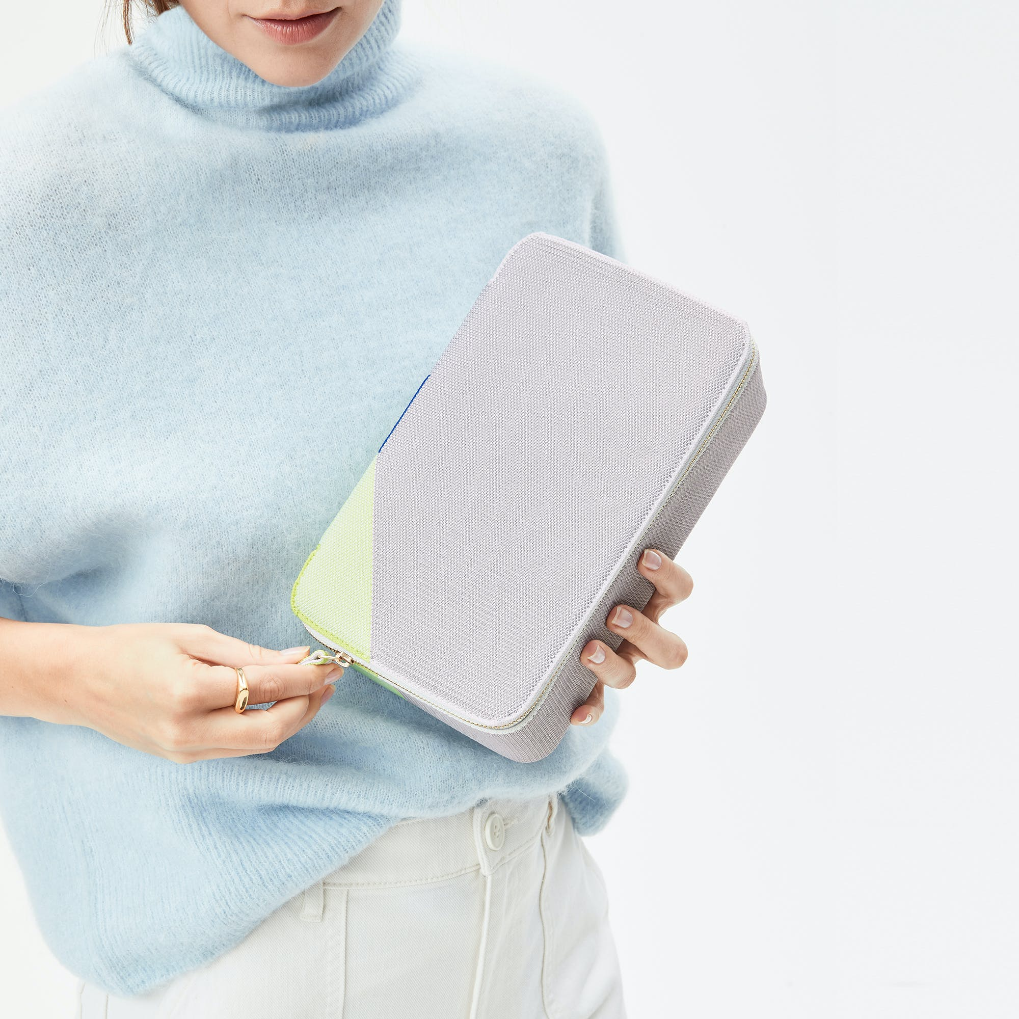 The Large Catchall in Dove Grey shown from the front.