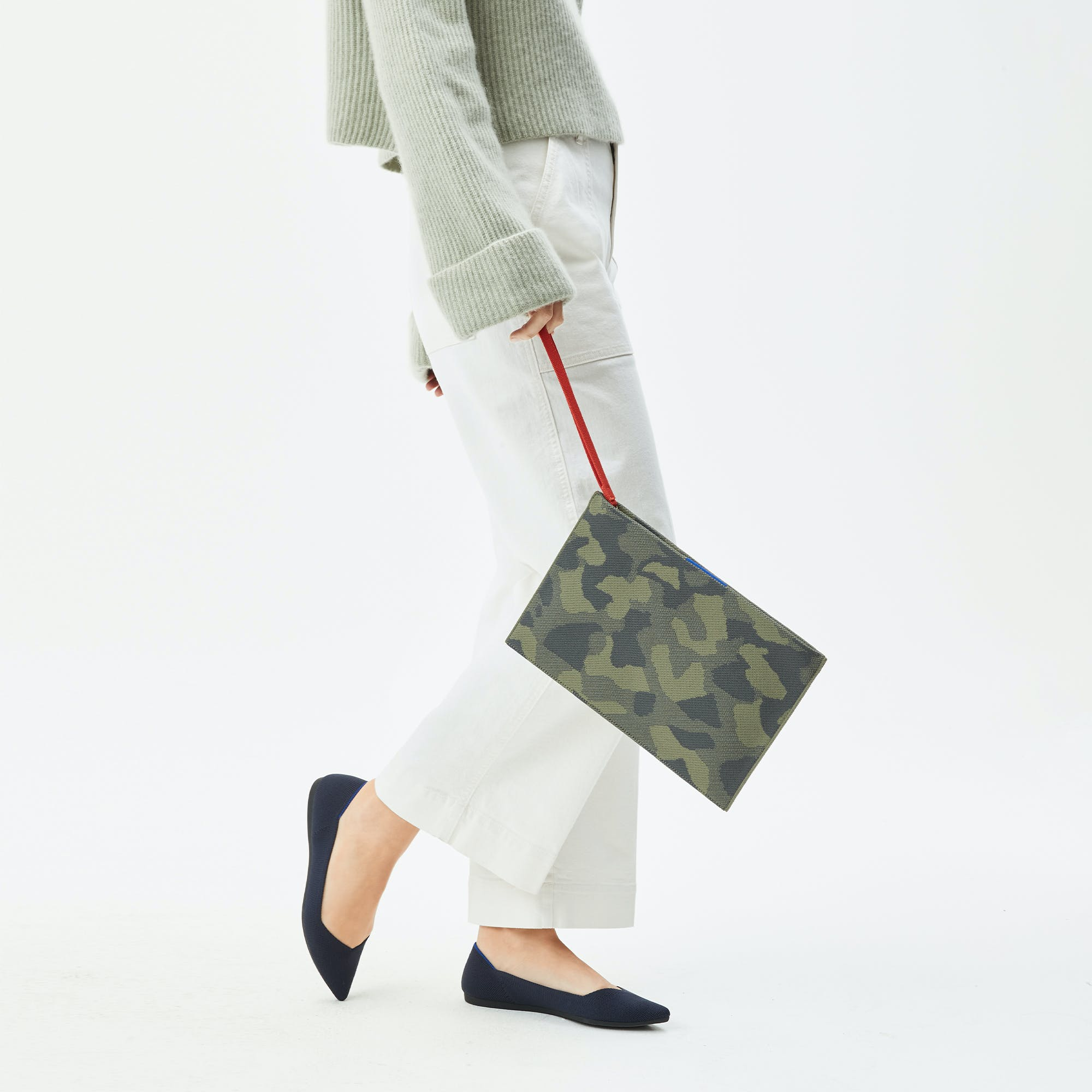The Essential Pouch in Sage Camo shown from the front.